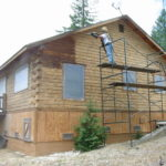 Log home log cabin sandblasting in Truckee California looking new again